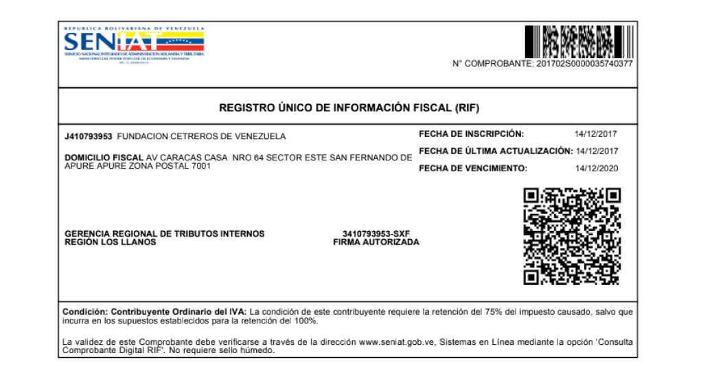 sacar el rif venezuela