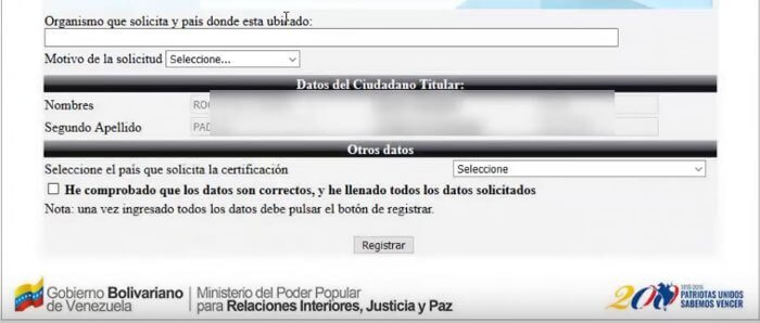 Iniciar solicitud antecedentes penales en venezuela