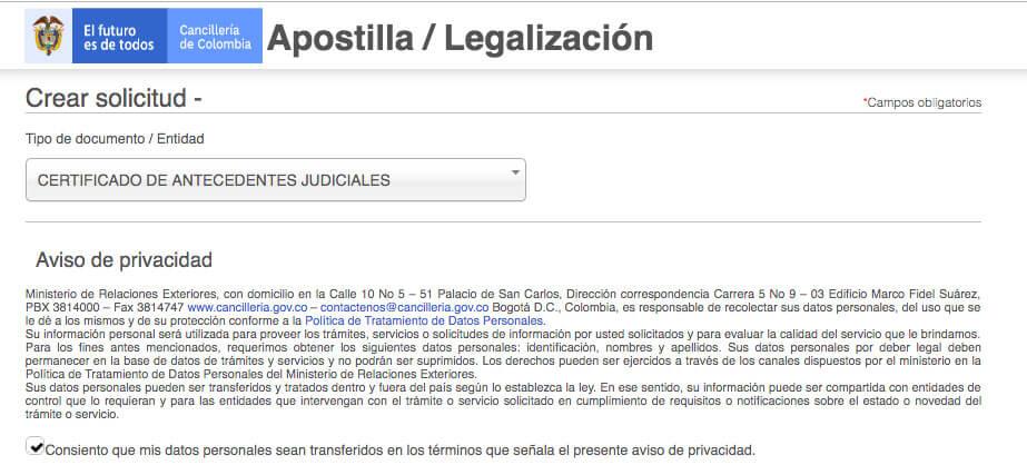 Apostilla antecedentes judiciales