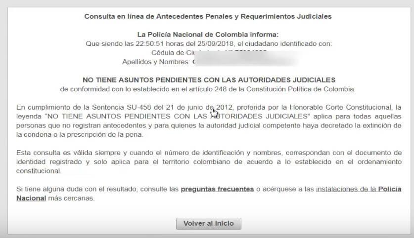Antecedentes Judiciales Colombia por Internet