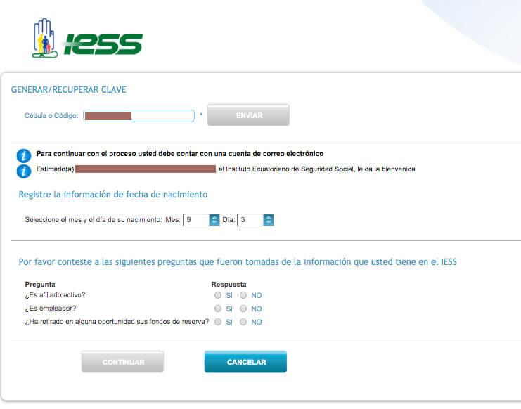 Obtencion de clave IESS por primera vez