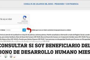 Consultar si soy beneficiario del Bono de Desarrollo Humano por cédula